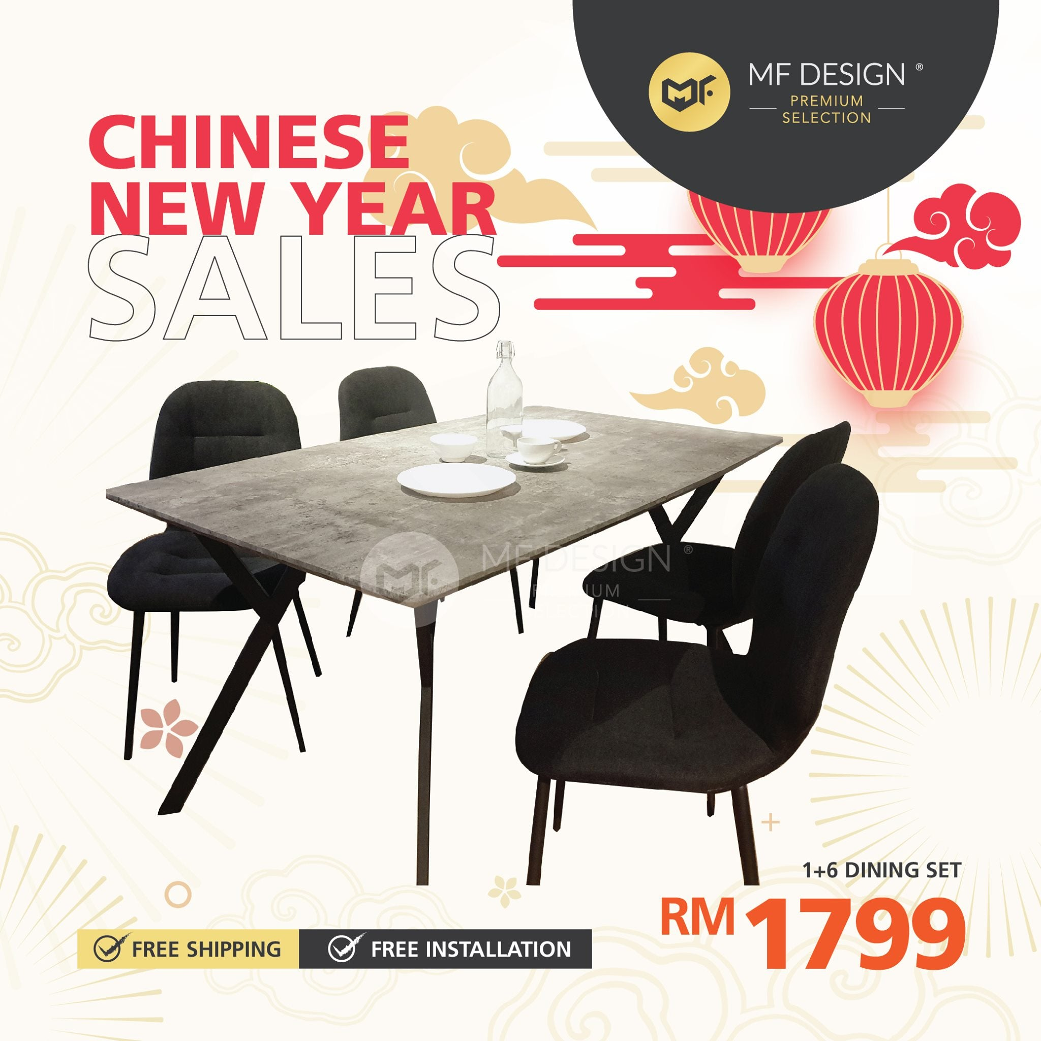 (Free Delivery)  MFD Premium Jacob Dining Set Dining set / 1+6 Set / Chair / Table / 6 Seater / Meja Makan Kerusi