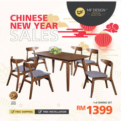 (Free Delivery)  MFD Premium Vident Dining Set Dining set / 1+6 Set / Chair / Table / 6 Seater / Meja Makan Kerusi