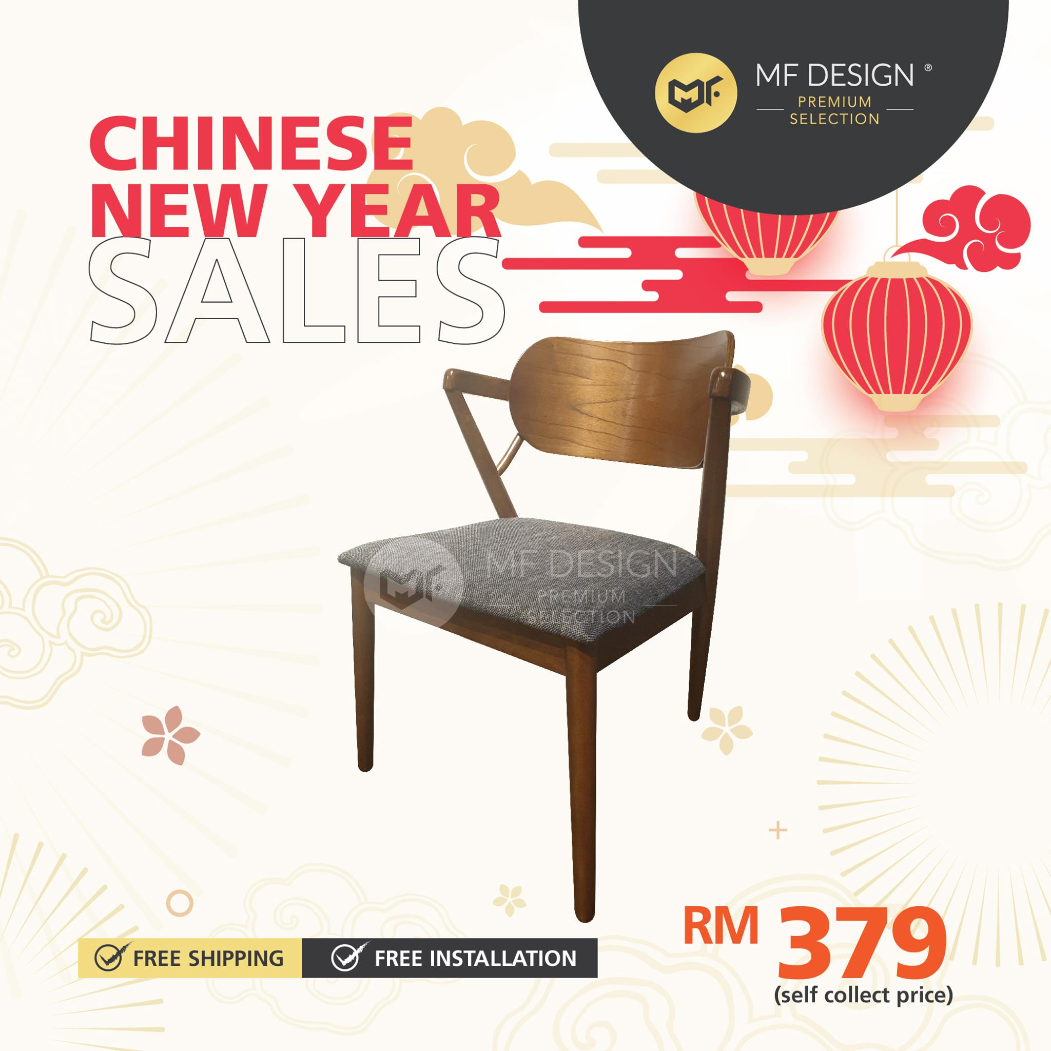 (Free Delivery)  MFD Premium Rebecca Dining Chair /Wooden Chair / Solid Rubber Wood / Kerusi Makan Kayu Getah
