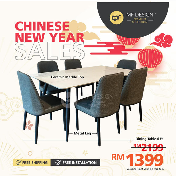 (Free Delivery) MFD Premium Adora Dining Set Dining set / 1+6 Set / Chair / Table / 6 Seater / Meja Makan Kerusi
