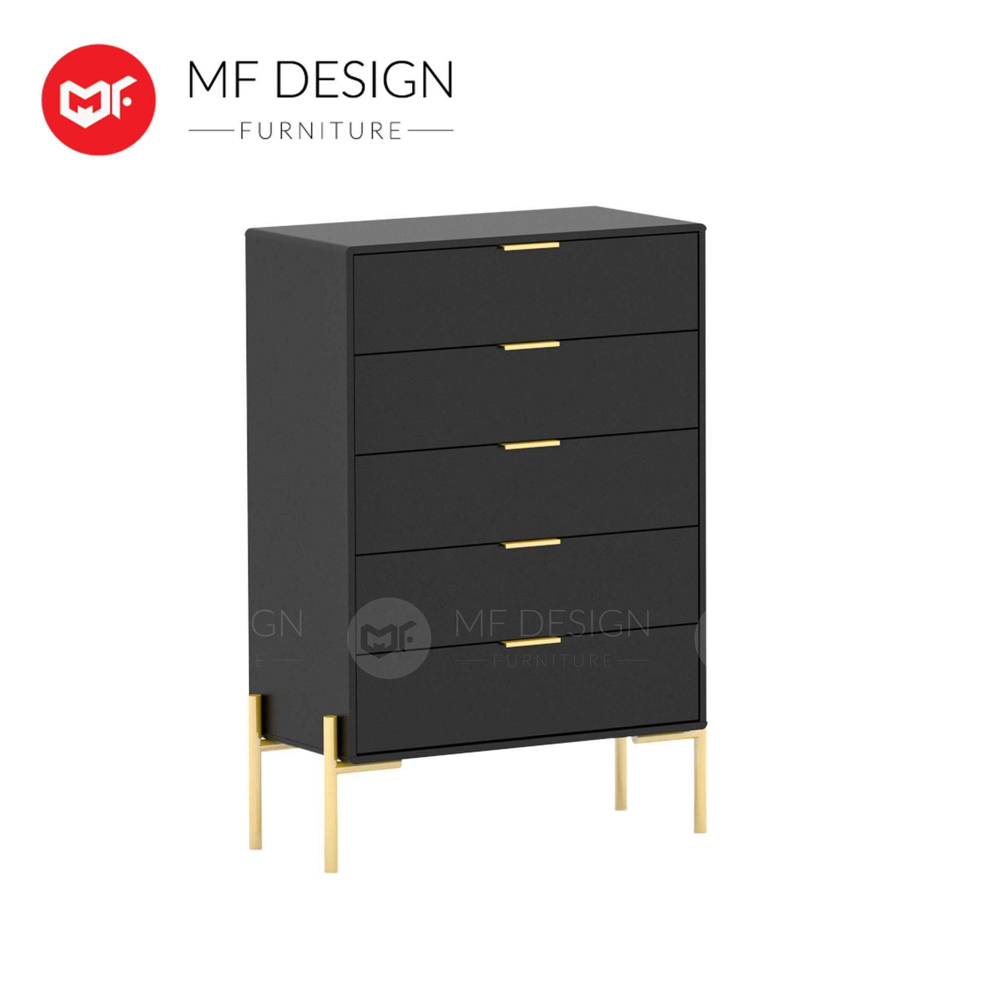 GOLD ELEGANT CHEST OF 5 DRAWER