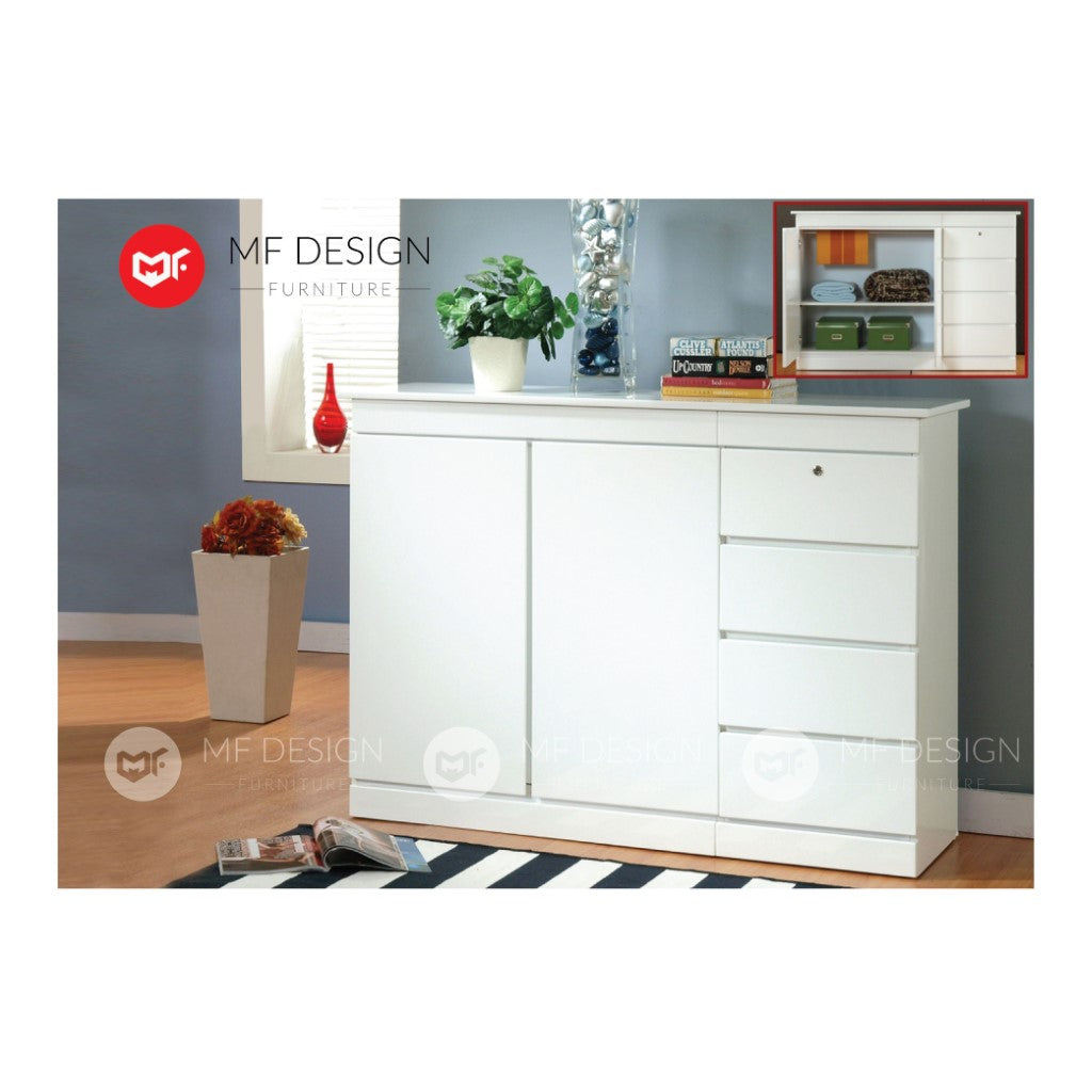 mf design fowl chest drawer (white)layer storage cabinet wardrobe / almari baju / cabinet / storage 2 / drawer cabinet