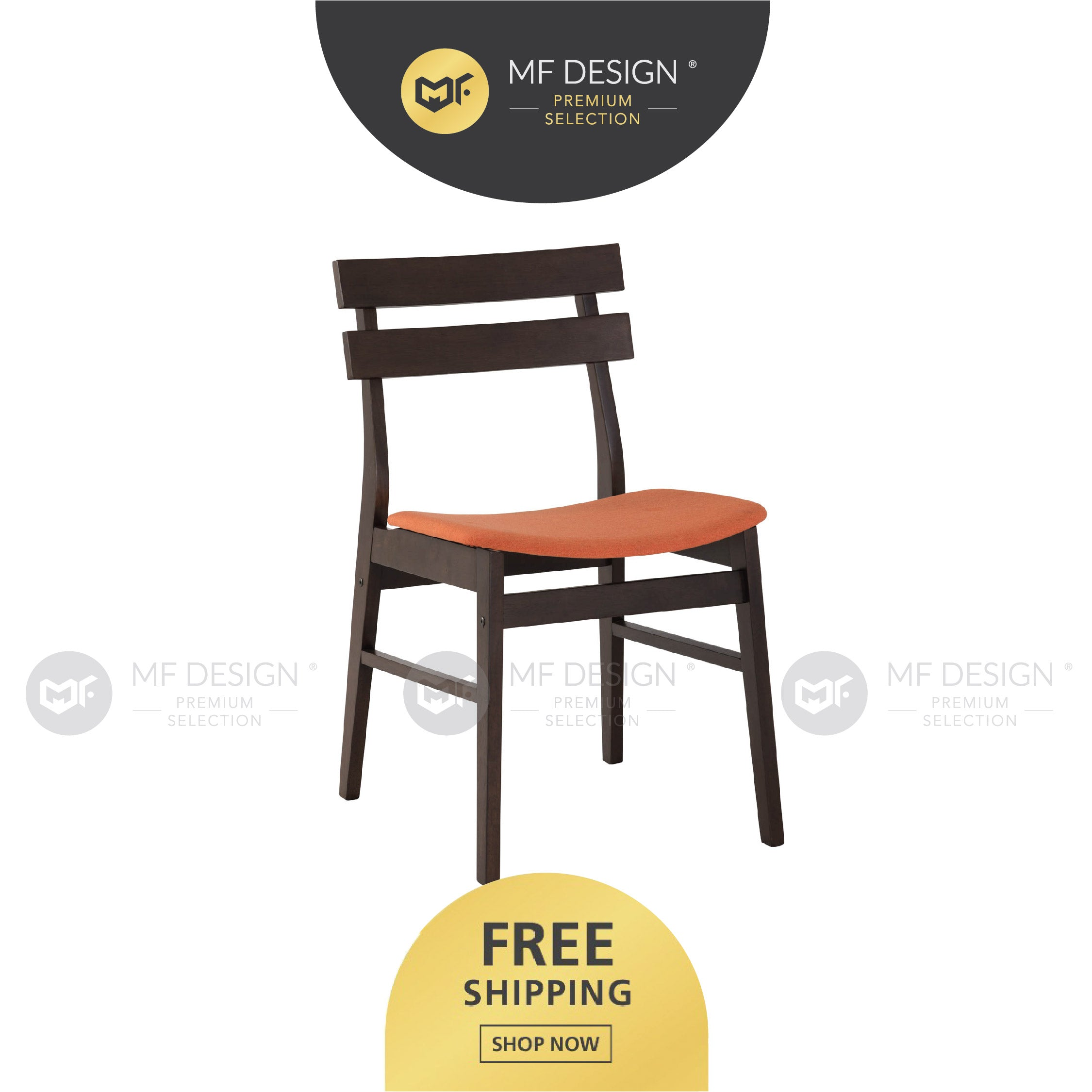 MFD Premium Albert Dining Chair /Wooden Chair / Solid Rubber Wood / Kerusi Makan Kayu Getah / Living Room / Scandinavian