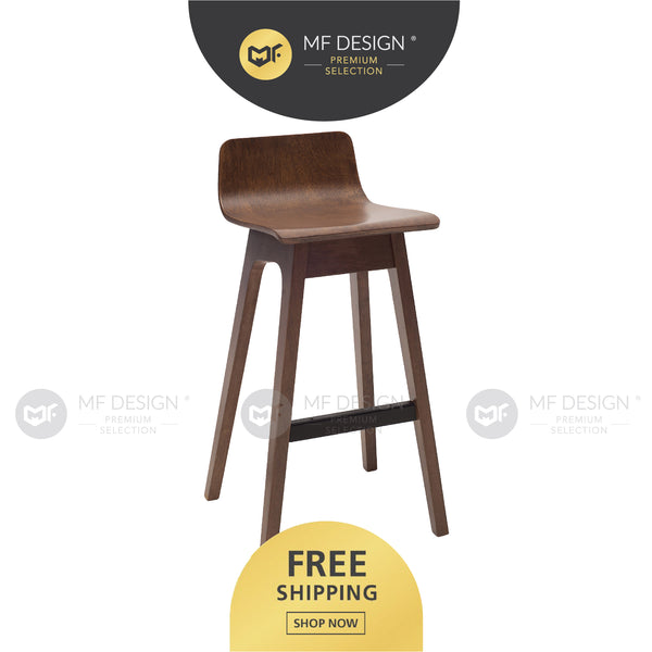 MFD Premium Artemis Bar Chair Bar Stool Tinggi High Chair Bangku Solid Wood Backrest Bar Chair