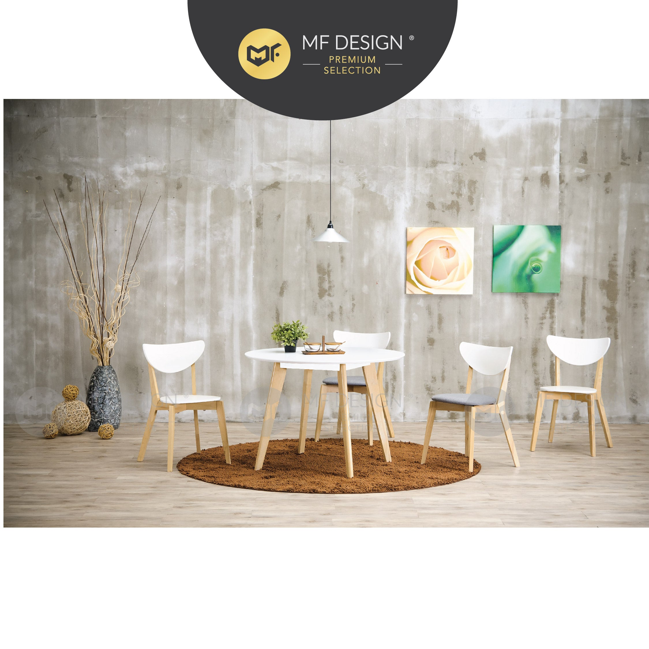 MFD Premium Nancy Dining Chair / Wooden Chair / Solid Rubber Wood / Kerusi Makan Kayu Getah / Living Room / Scandinavian