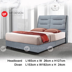 mf design Denise divan divan with fabric leather queen & king size bed frame / katil queen & king / bed frame queen & king / bed frame single  / bed frame super single / queen bed / single bed / super single bed / king bed