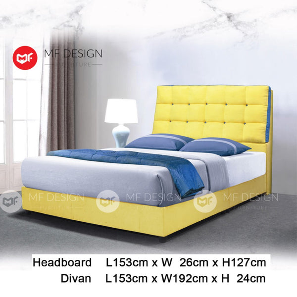 mf design Asher divan divan with fabric leather queen & king size bed frame / katil queen & king / bed frame queen & king / bed frame single  / bed frame super single / queen bed / single bed / super single bed / king bed