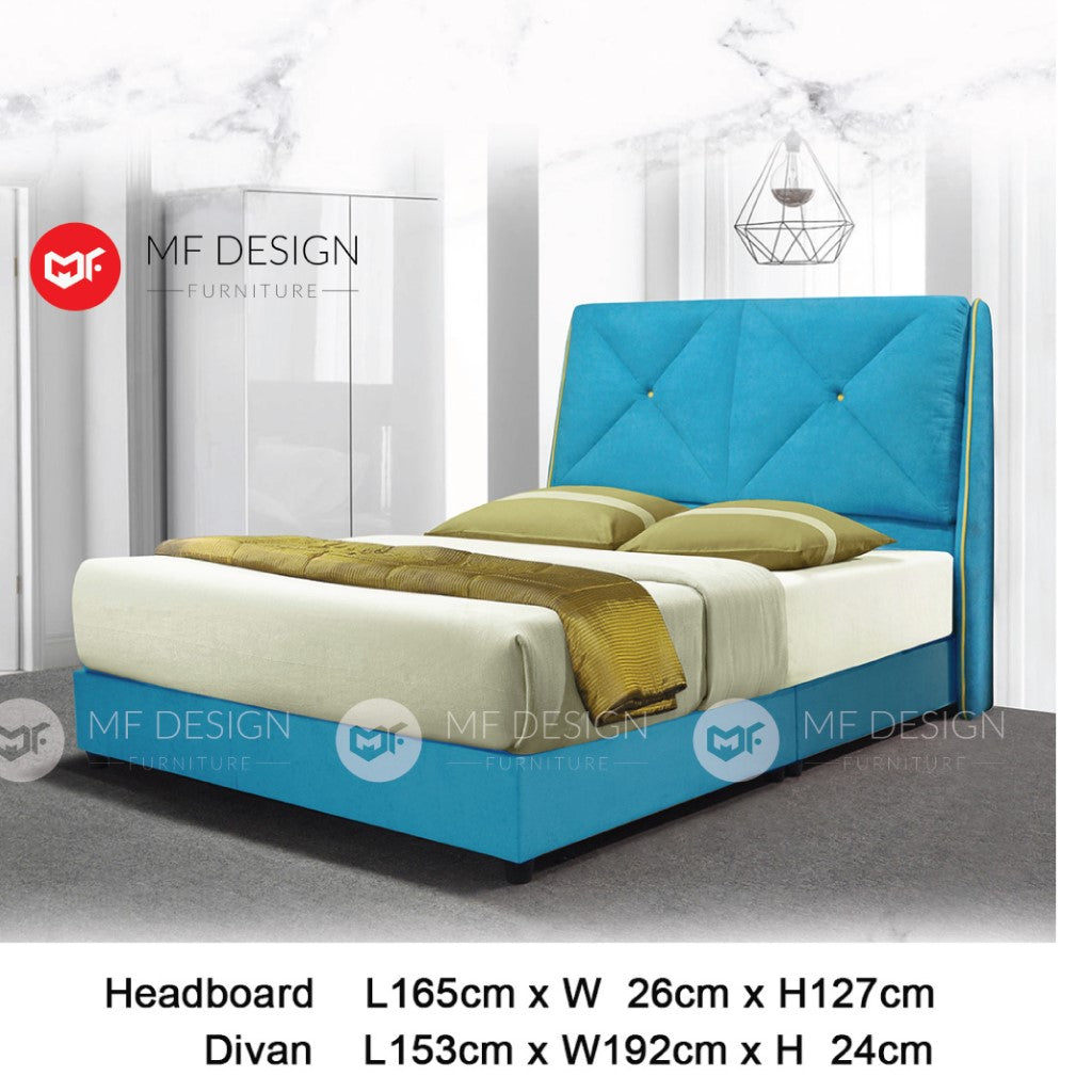 mf design Cielo divan with fabric leather queen & king size bed frame / katil queen & king / bed frame queen & king / bed frame single  / bed frame super single / queen bed / single bed / super single bed / king bed