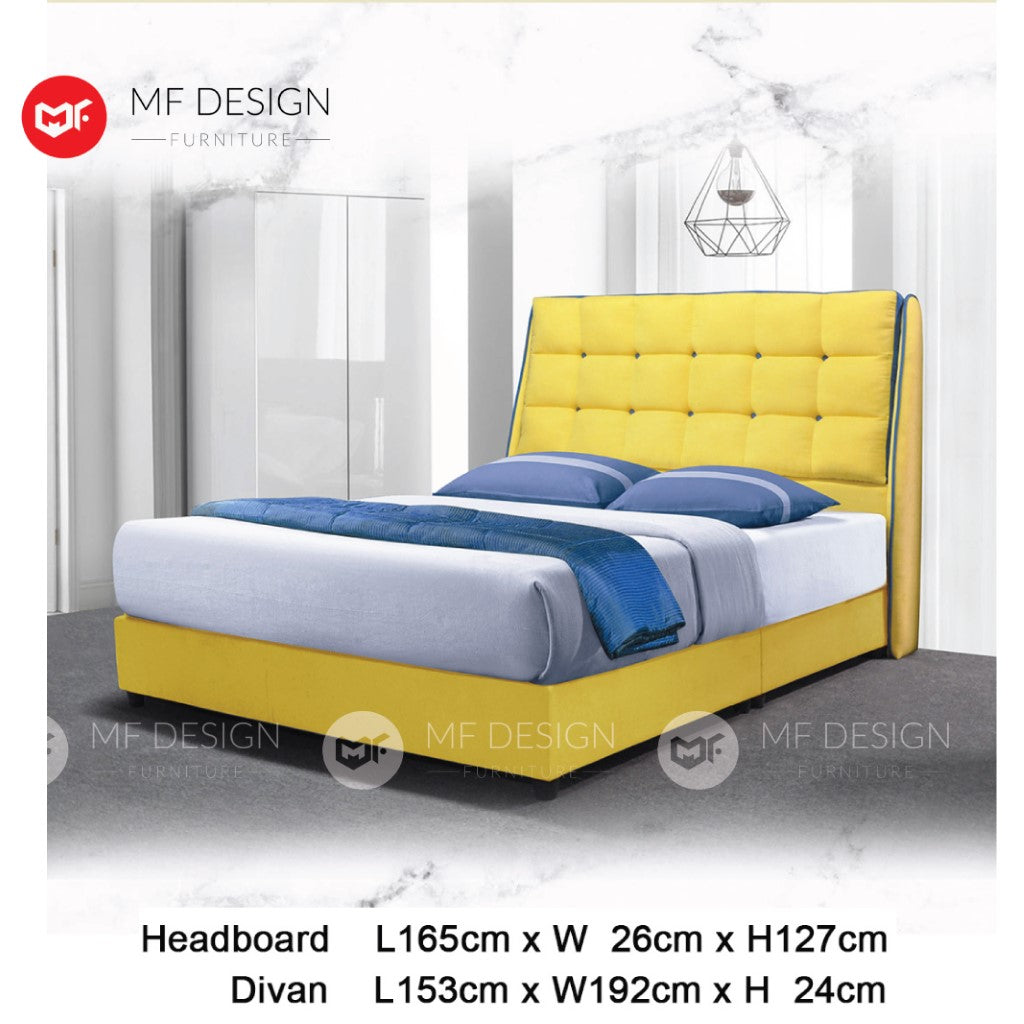 mf design Replica divan with fabric leather queen & king size bed frame / katil queen & king / bed frame queen & king / bed frame single / bed frame super single / queen bed / single bed / super single bed / king bed