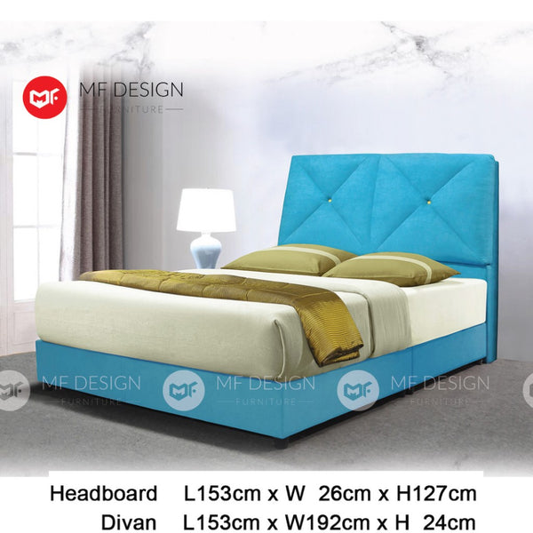 mf design Clarus divan with fabric leather queen & king size bed frame / katil queen & king / bed frame queen & king / bed frame single  / bed frame super single / queen bed / single bed / super single bed / king bed