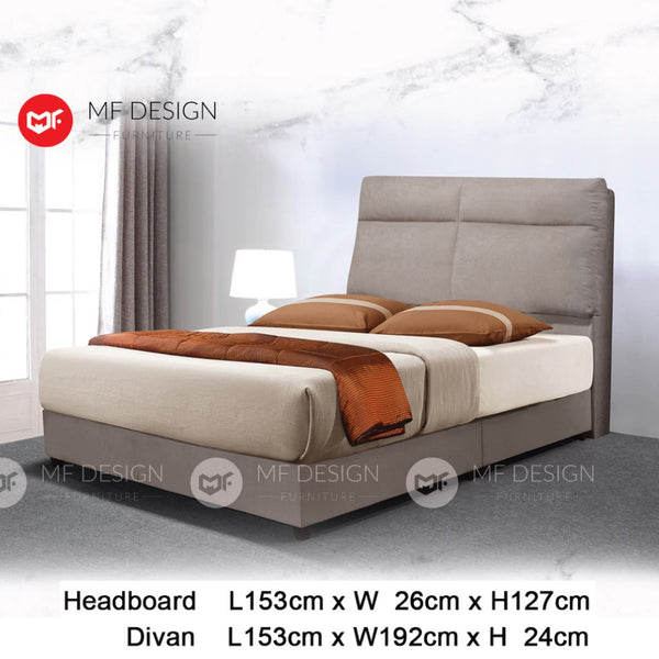 mf design Callie divan divan with fabric leather queen & king size bed frame / katil queen & king / bed frame queen & king / bed frame single  / bed frame super single / queen bed / single bed / super single bed / king bed