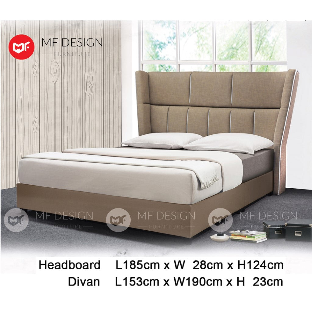 mf design Senku divan divan with fabric leather queen & king size bed frame / katil queen & king / bed frame queen & king / bed frame single / bed frame super single / queen bed / single bed / super single bed / king bed