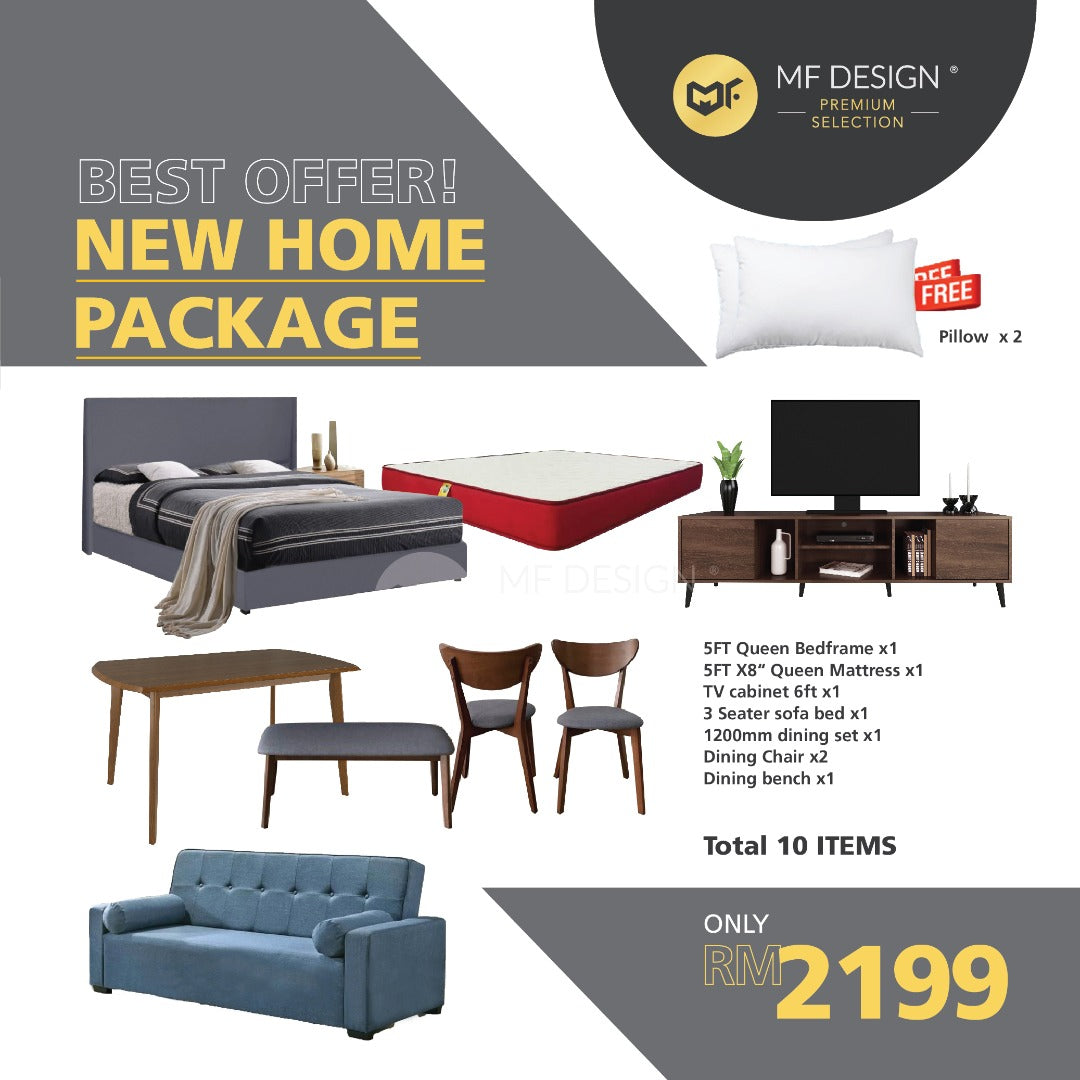 MFD Premium Home Package Queen king Bed Mattress Kopi Table Wardrobe Divan Katil TV Cabinet Dining Set Sofa Coffee Table