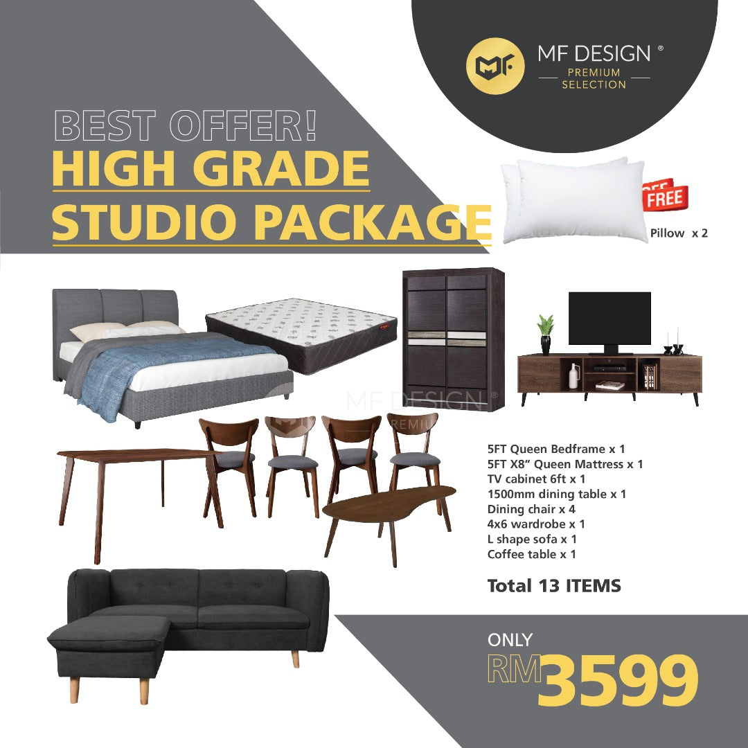 MFD Premium Home Package 2 Queen king Bed Mattress Kopi Table Wardrobe Divan Katil TV Cabinet Dining Set Sofa Coffee Table