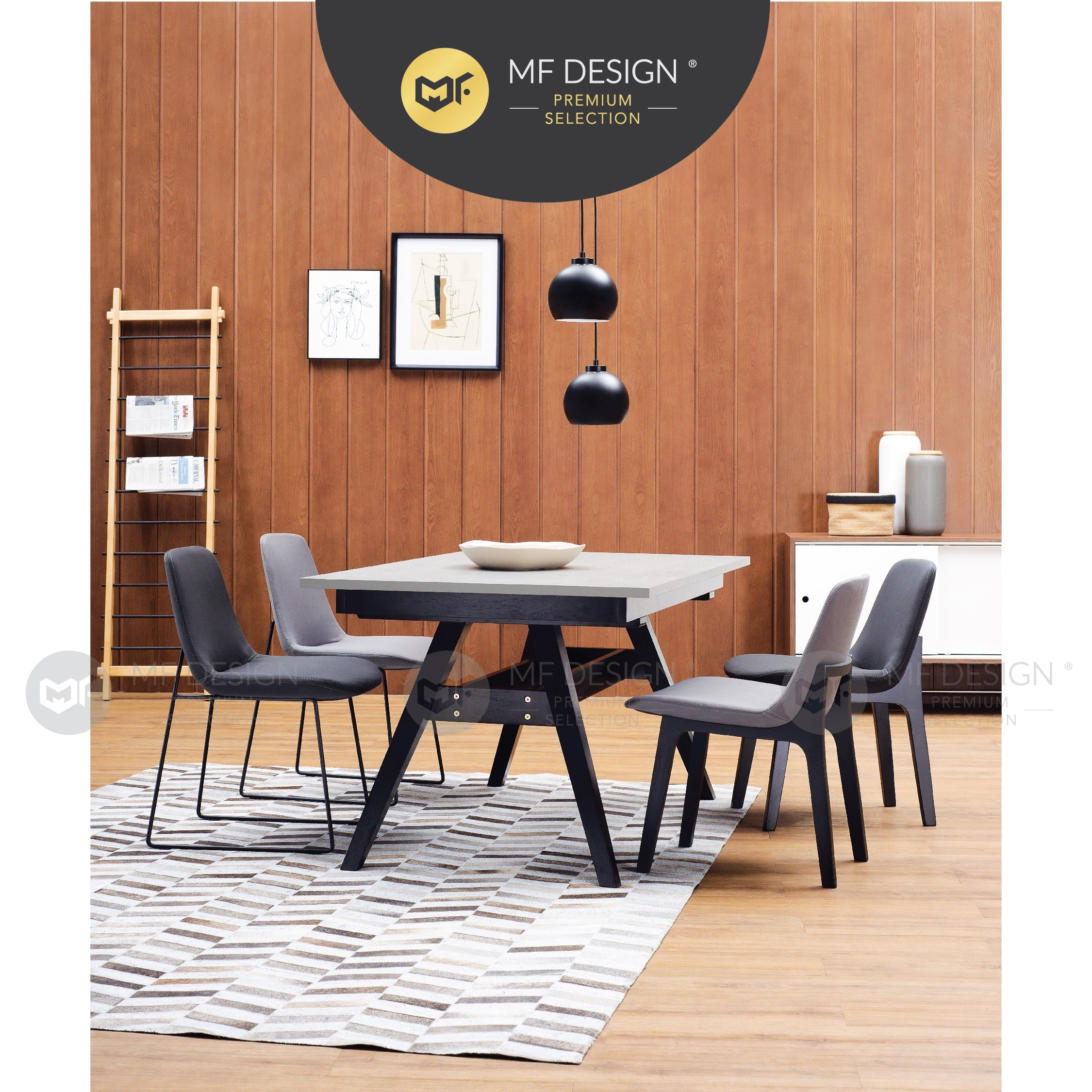 MFD Premium Aiman Dining Chair (Metal) / Wooden Chair / Solid Rubber Wood / Kerusi Makan Kayu Getah / Living Room