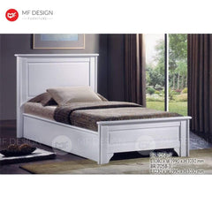 7 bed MF DESIGN ISABELLA SINGLE WOOD BED FRAME (WHITE SERIES)