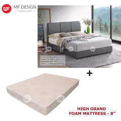 mfdesign88 bed Queen / Bed+High Grand Foam MF DESIGN POYIN BED WITH MATTRESS SINGLE / SUPER SINGLE / QUEEN / KING KATIL