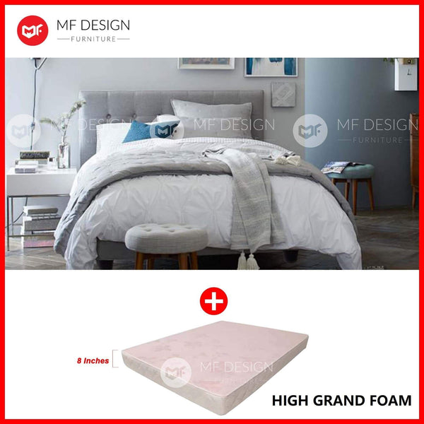 mfdesign88 bed Single / Bed+High Grand Foam MF DESIGN LOUIS Fabric Divan Bed Frame (GREY) SINGLE/SUPER SINGLE/QUEEN/KING