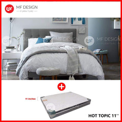 mfdesign88 bed Single / Bed+Hot Topic 11'' MF DESIGN LOUIS Fabric Divan Bed Frame (GREY) SINGLE/SUPER SINGLE/QUEEN/KING