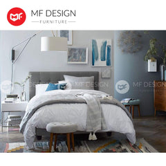 mfdesign88 bed Single / Bed Only MF DESIGN LOUIS Fabric Divan Bed Frame (GREY) SINGLE/SUPER SINGLE/QUEEN/KING