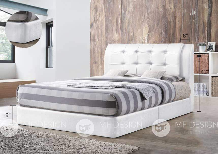 68 bed WHITE / QUEEN MF DESIGN BETSY DIVAN BED ( 3D PVC) QUEEN / KING