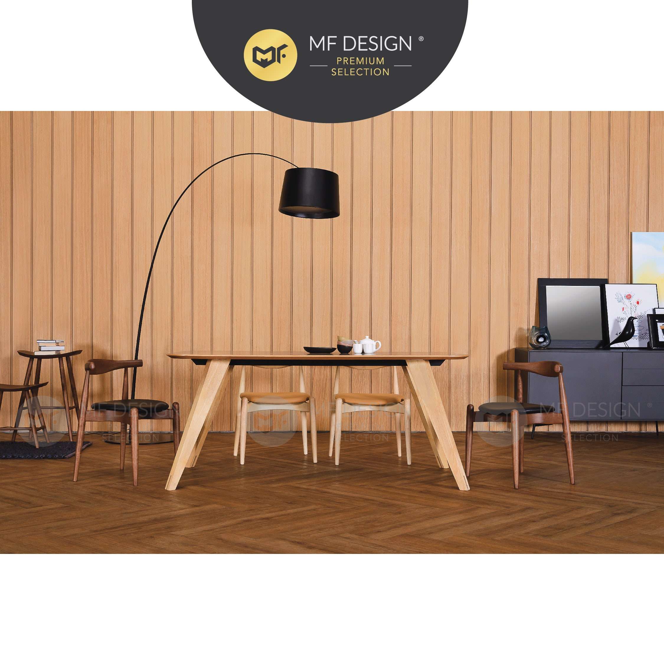MFD Premium Bella Dining Chair / Wooden Chair / Solid Rubber Wood / Kerusi Makan Kayu Getah / Living Room / Scandinavian
