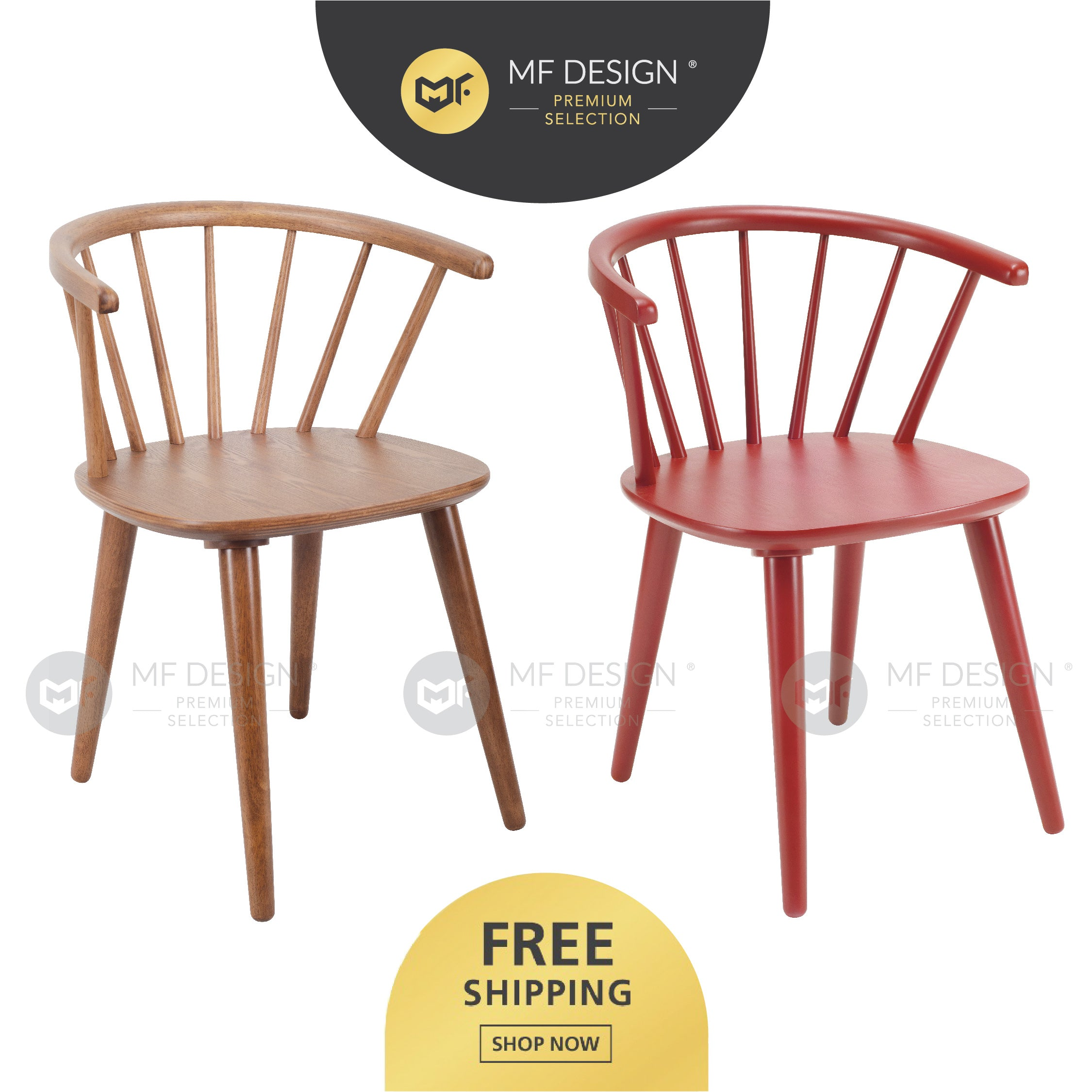 MFD Premium Catherine Dining Chair / Wooden Chair / Solid Rubber Wood / Kerusi Makan Kayu Getah / Living Room