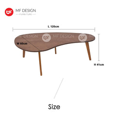 mfdesign88 Coffee table MF DESIGN CAROSO COFFEE TABLE ( SOLID WOOD LEG) (MODERN) ( OAK COLOUR )