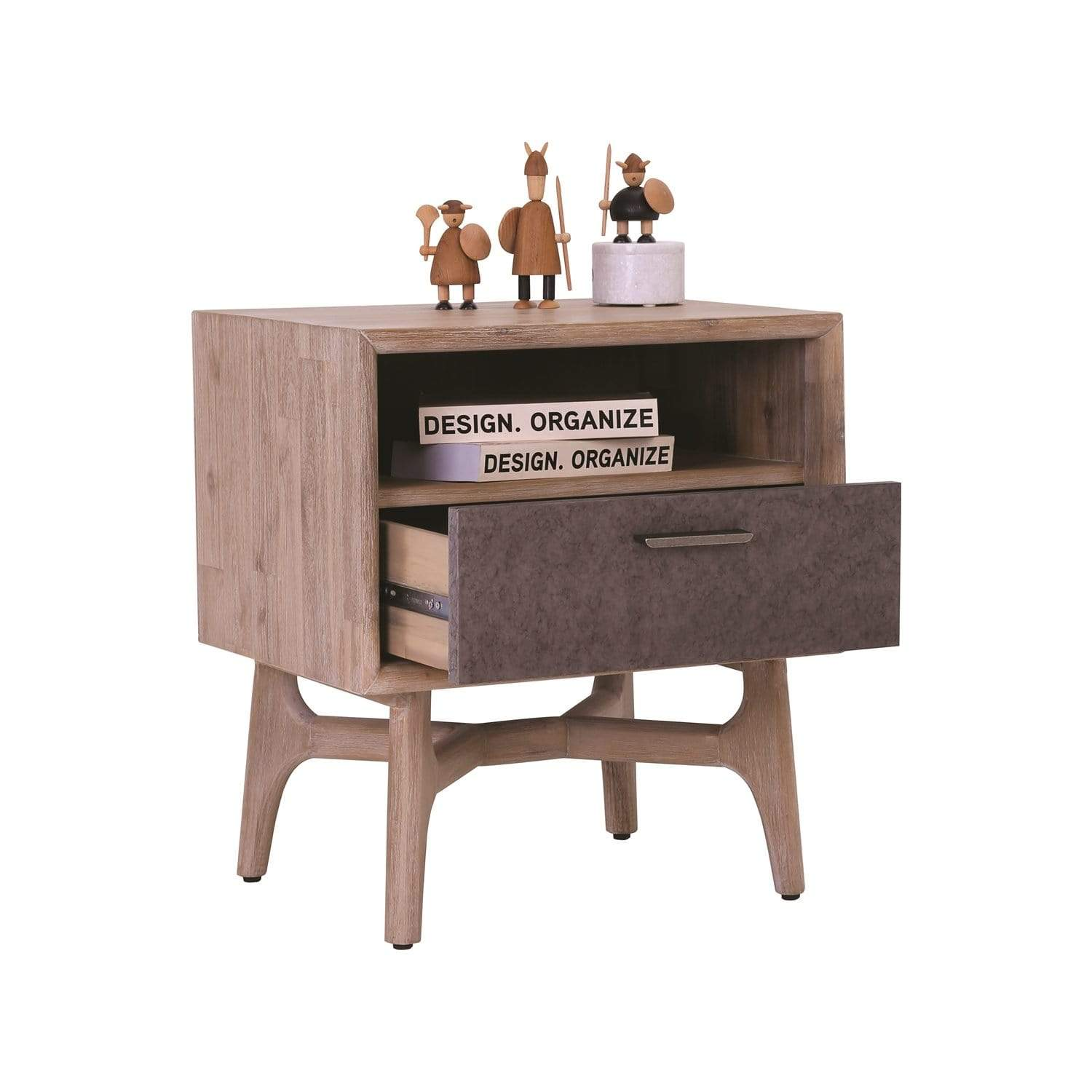 mfdesign88 CORBON Single Drawer Night Stand With Havana Sandlast Grey Colour