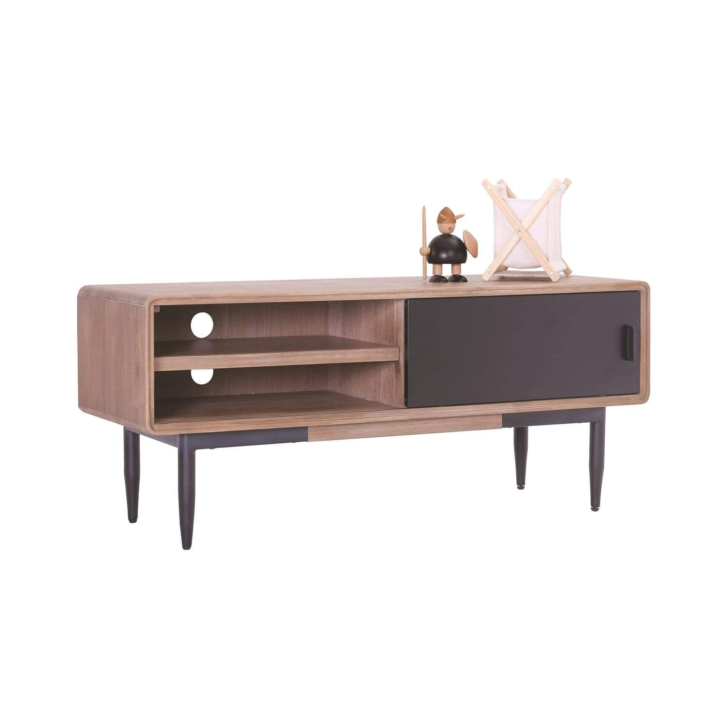 mfdesign88 DACHI 1.3M TV Cabinet In Black Painted Door Face