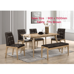 mfdesign88 Dining Sets Beoi Dining Set ( 1 Table + 4 Chairs + 1 Bench )