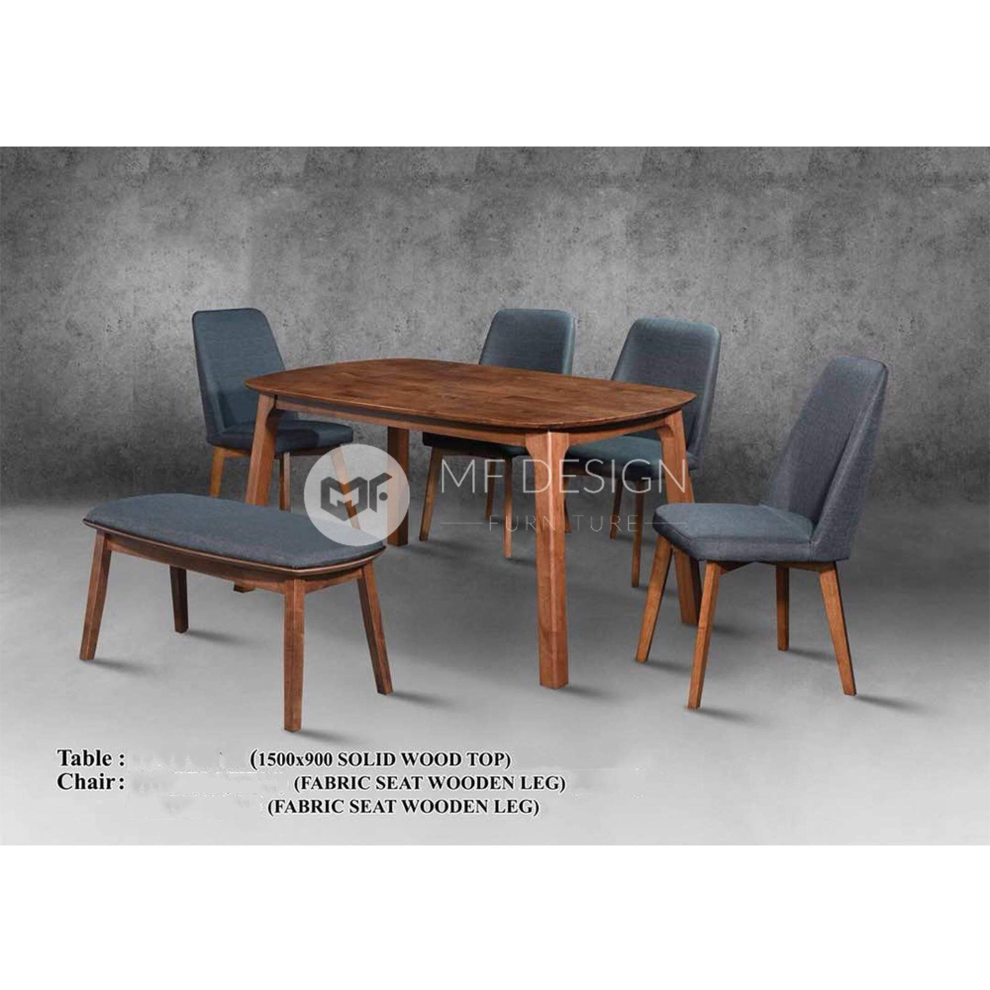 mfdesign88 Dining Sets Colt Dining Set ( 1 Table + 4 Chairs + 1 Bench )