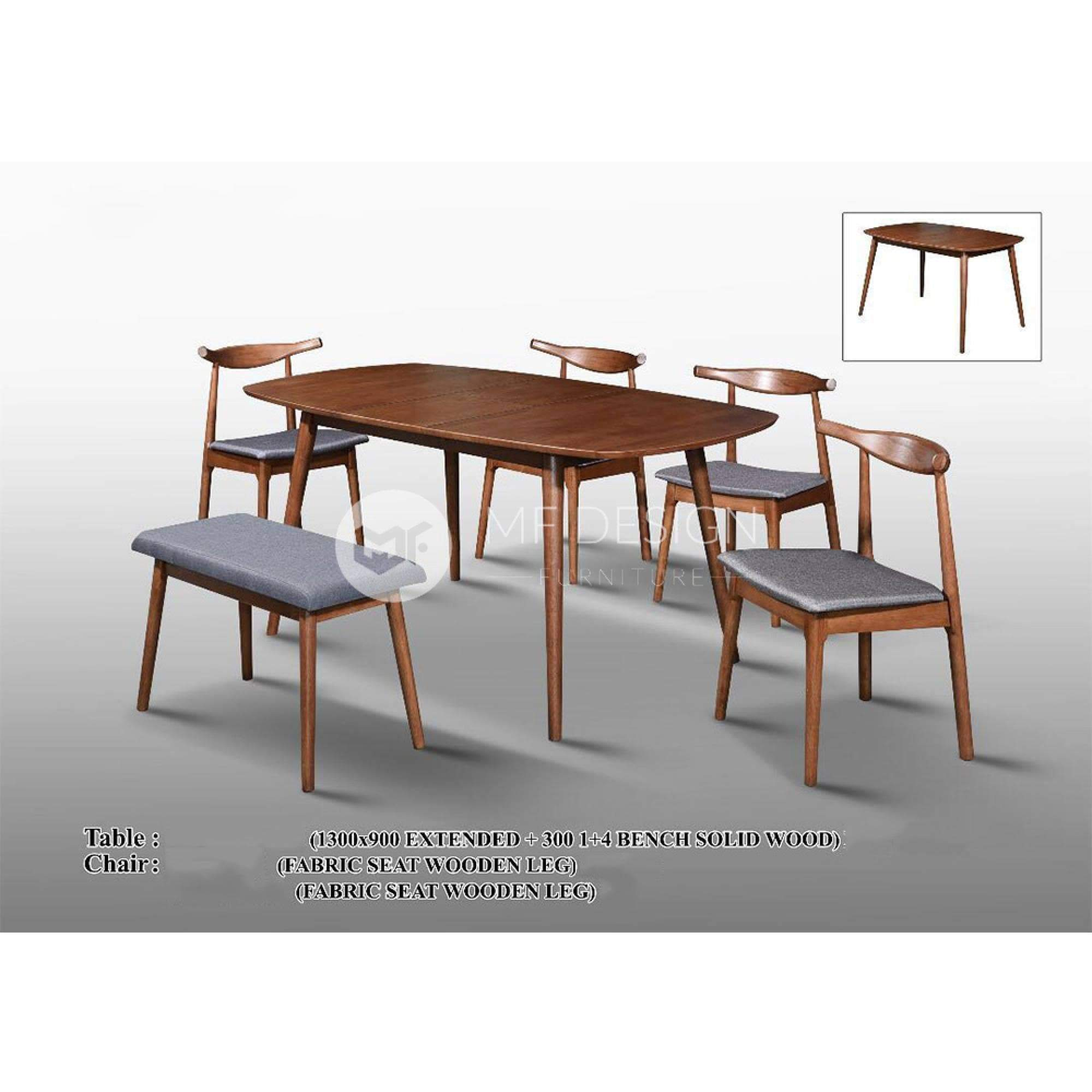 mfdesign88 Dining Sets Khaleesi Dining Set ( 1 Extended Table + 4 Chairs + 1 Bench )