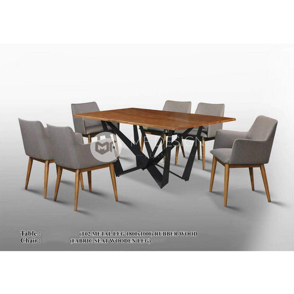 mfdesign88 Dining Sets Luna Dining Set ( 1 Table + 6 Chairs )