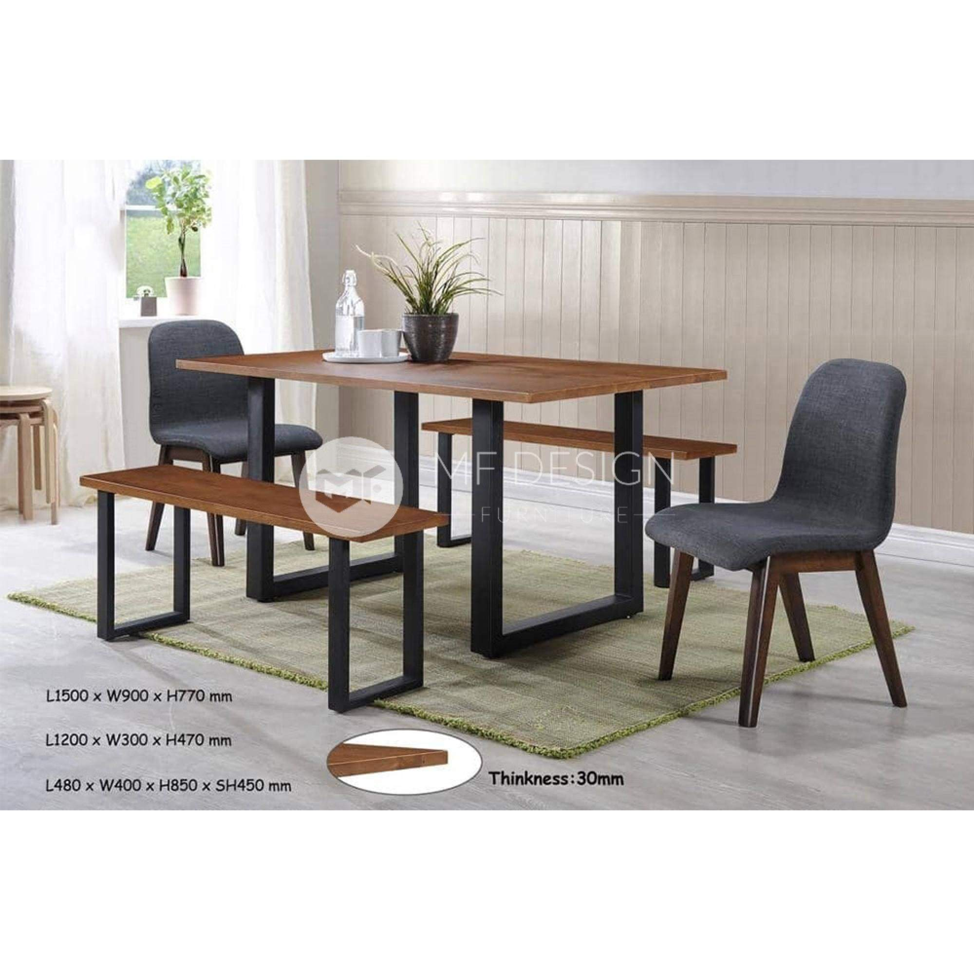 mfdesign88 Dining Sets Stetson Dining Set ( 1 Table + 2 Chairs + 2 Bench )