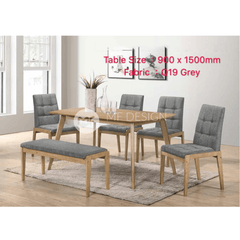 mfdesign88 Dining Sets Tim Dining Set ( 1 Table + 4 Chairs + Bench )