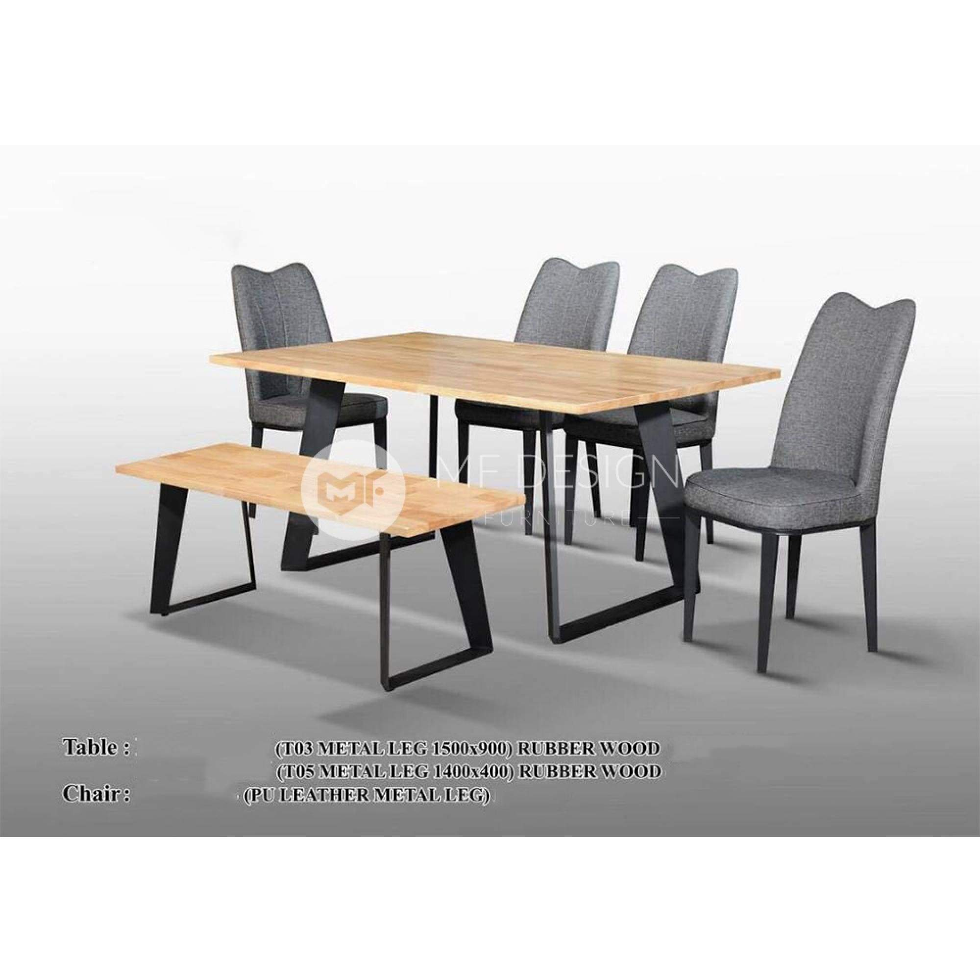 mfdesign88 Dining Sets Topaz Dining Set ( 1 Table + 4 Chairs + 1 Bench )