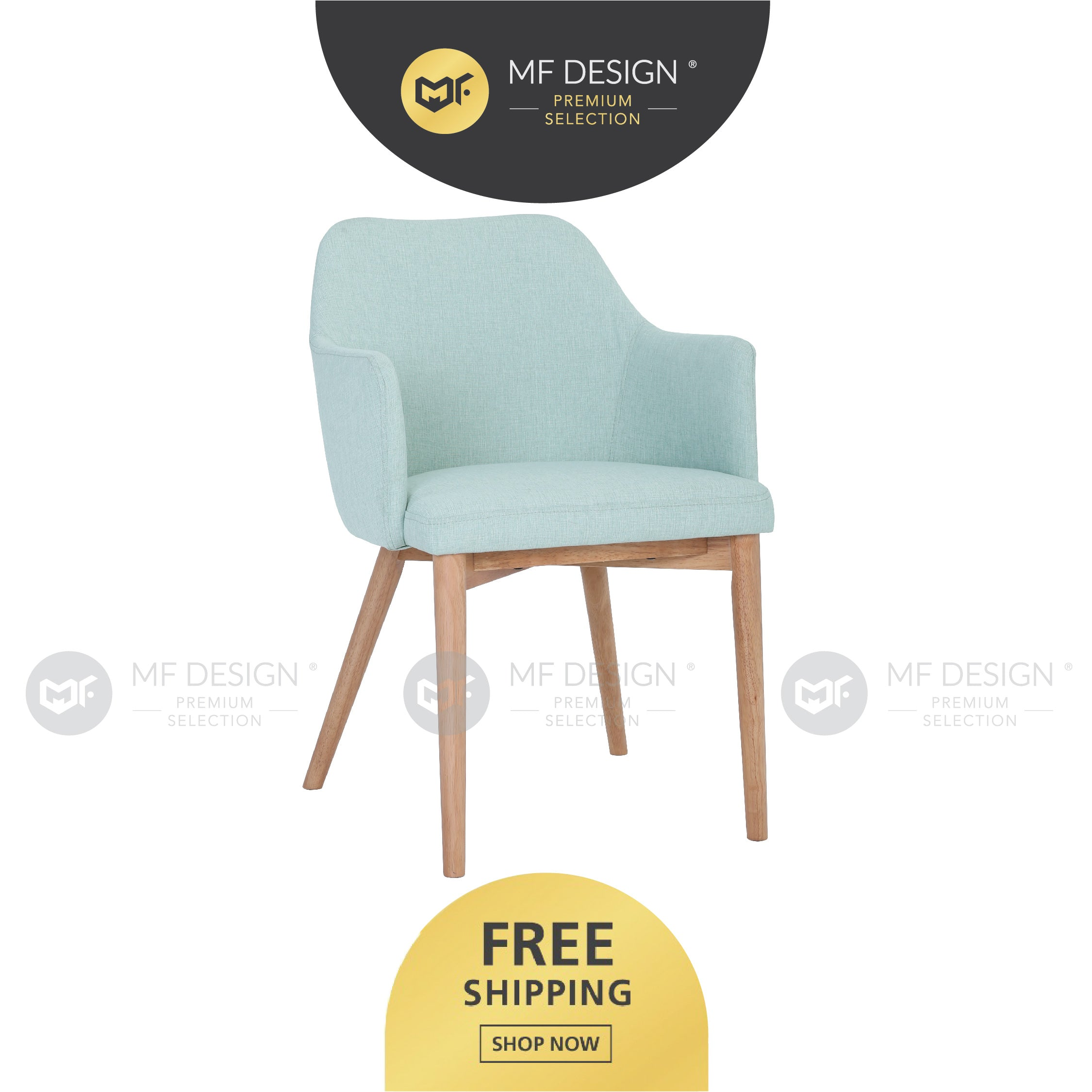 MFD Premium Grace Dining Chair / Wooden Chair / Solid Rubber Wood / Kerusi Makan Kayu Getah / Living Room / Scandinavian