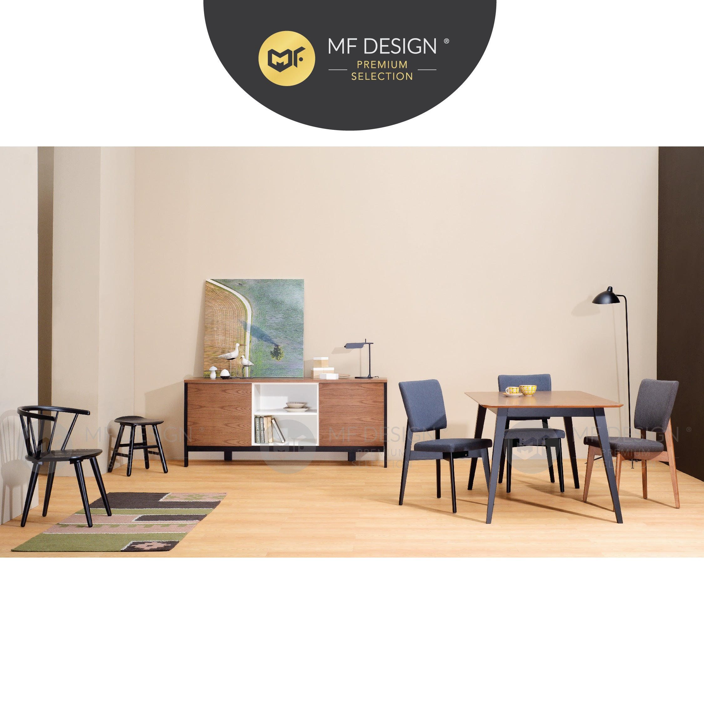 MFD Pemium Gilbert Dining Chair /Wooden Chair / Solid Rubber Wood / Kerusi Makan Kayu Getah / Living Room / Scandinavian