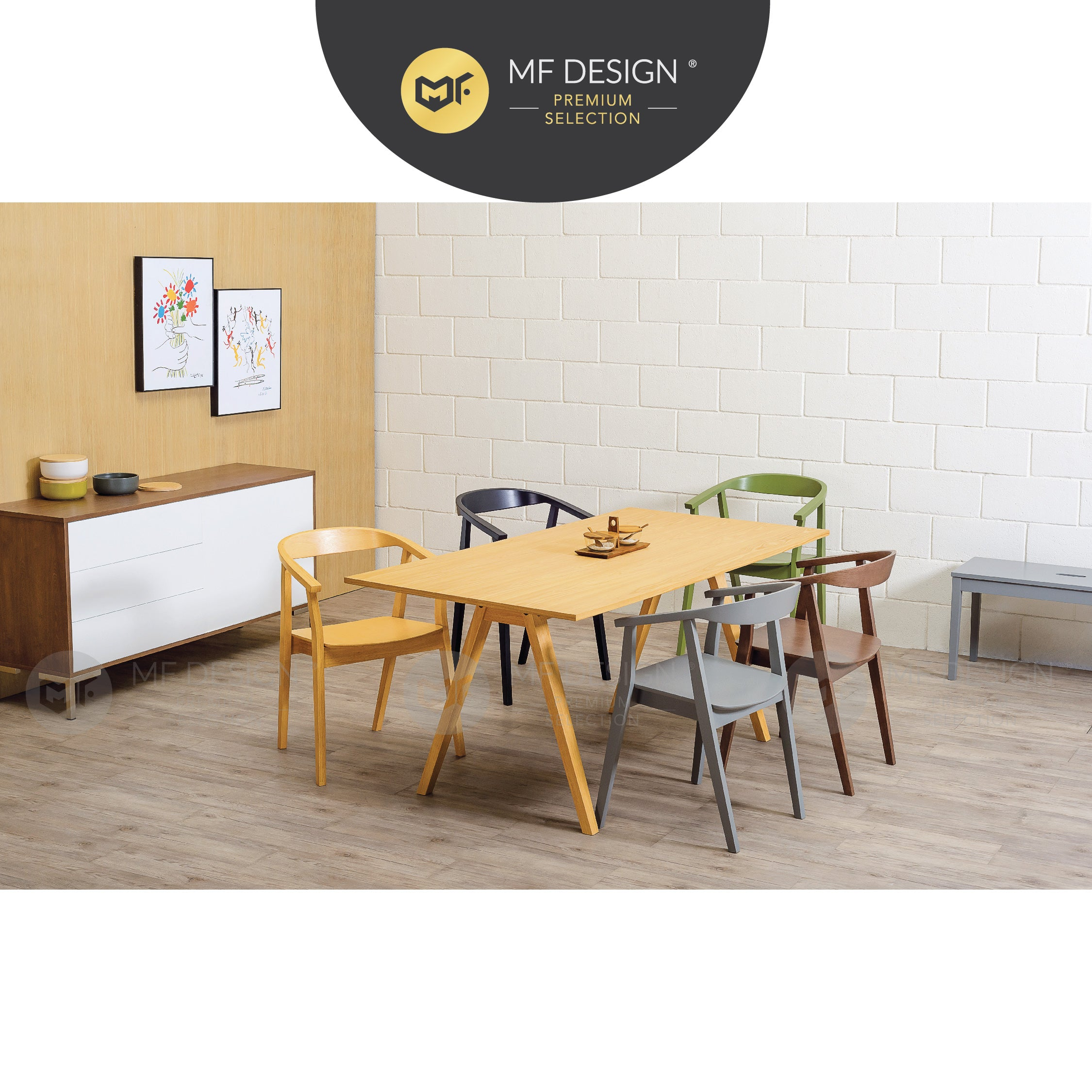 MFD Premium Geraldine Dining Chair / Wooden Chair / Solid Rubber Wood / Kerusi Makan Kayu Getah / Living Room