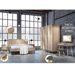 24 HACHI BEDROOM SET ( QUEEN SIZE BED X 1, SIDE TABLE X 1 , DRESSING TABLE X 1 , 3 DOOR WARDROBE X 1 )