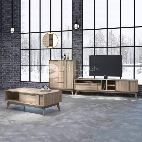 24 HACHI LIVING ROOM SET ( COFFEE TABLE X 1 , TV CABINET X 1 , SIDE BOARD X 1 )