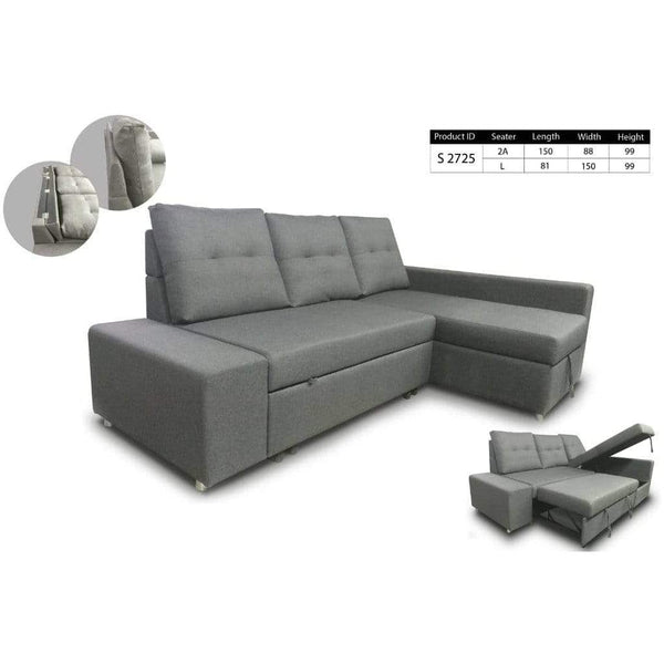 mfdesign88 L-Shape Sofa (PROMOSI)MF DESIGN LINA SOFA BED L-SHAPE SOFA STORAGE