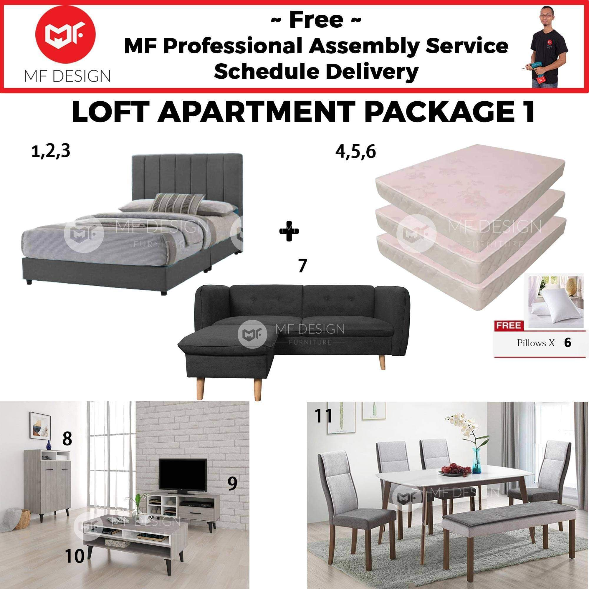 mfdesign88 LOFT APARTMENT PACKAGE 1 (3 BEDROOM) (HOME PACKAGE)