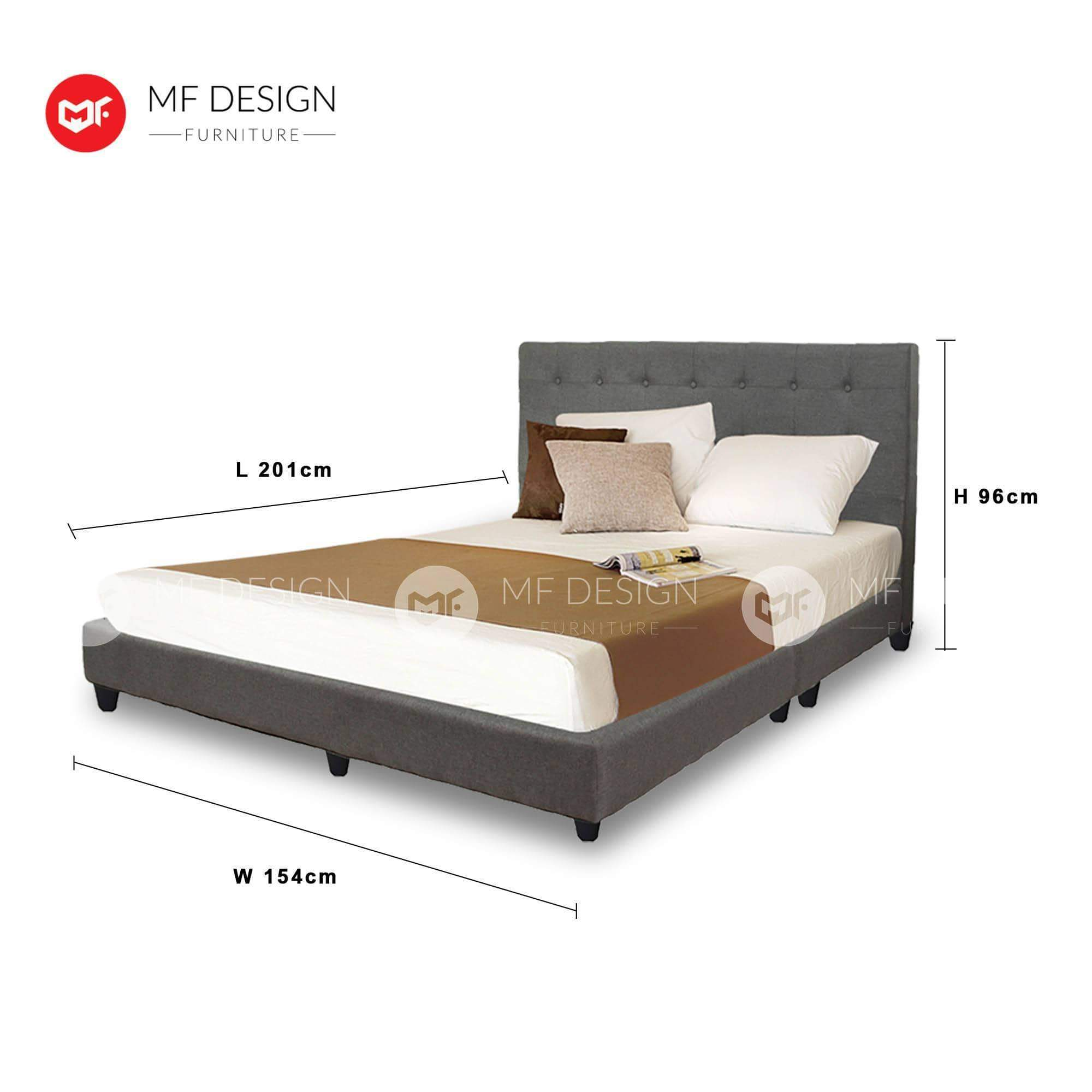 mfdesign88 LOUIS FABRIC DIVAN BED (GREY)