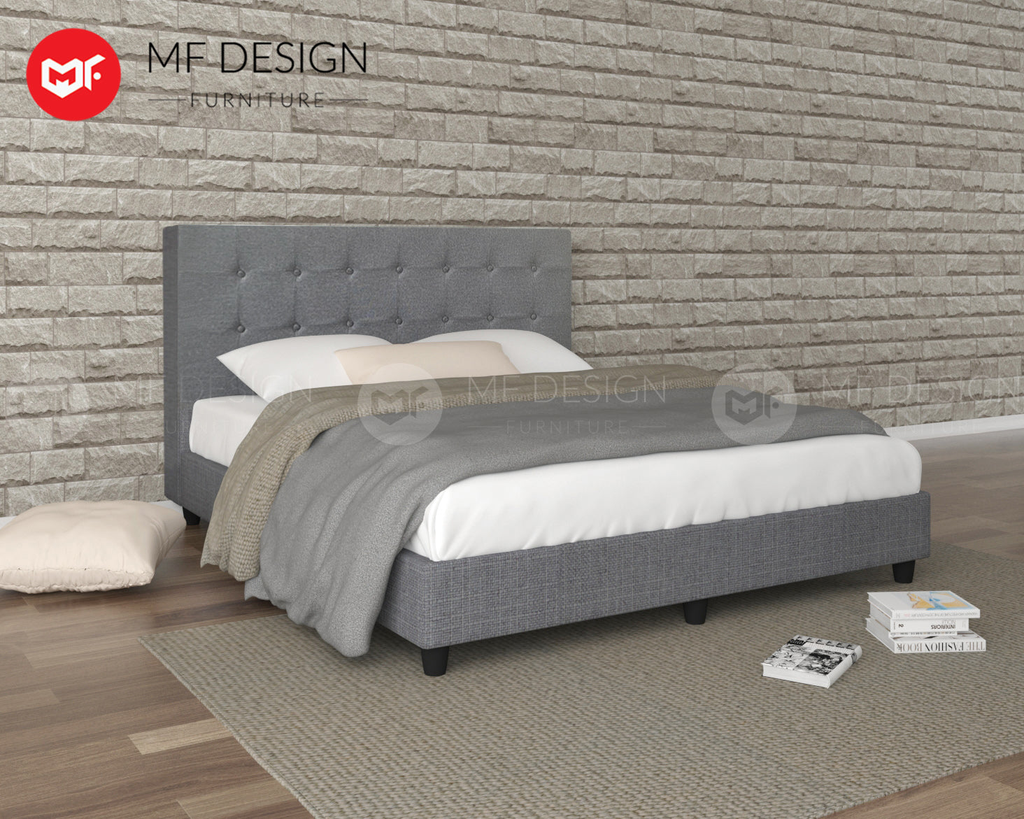 LOUIS FABRIC DIVAN BED (GREY)
