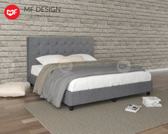 MF DESIGN LOUIS Fabric Divan Bed Frame (GREY) SINGLE/SUPER SINGLE/QUEEN/KING
