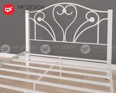 mfdesign88 LOVE QUEEN / SINGLE SIZE METAL BED (WHITE)