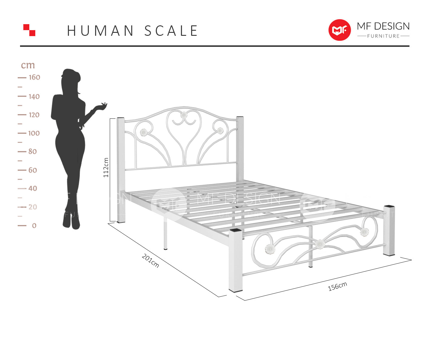 LOVE QUEEN SIZE METAL BED (WHITE)