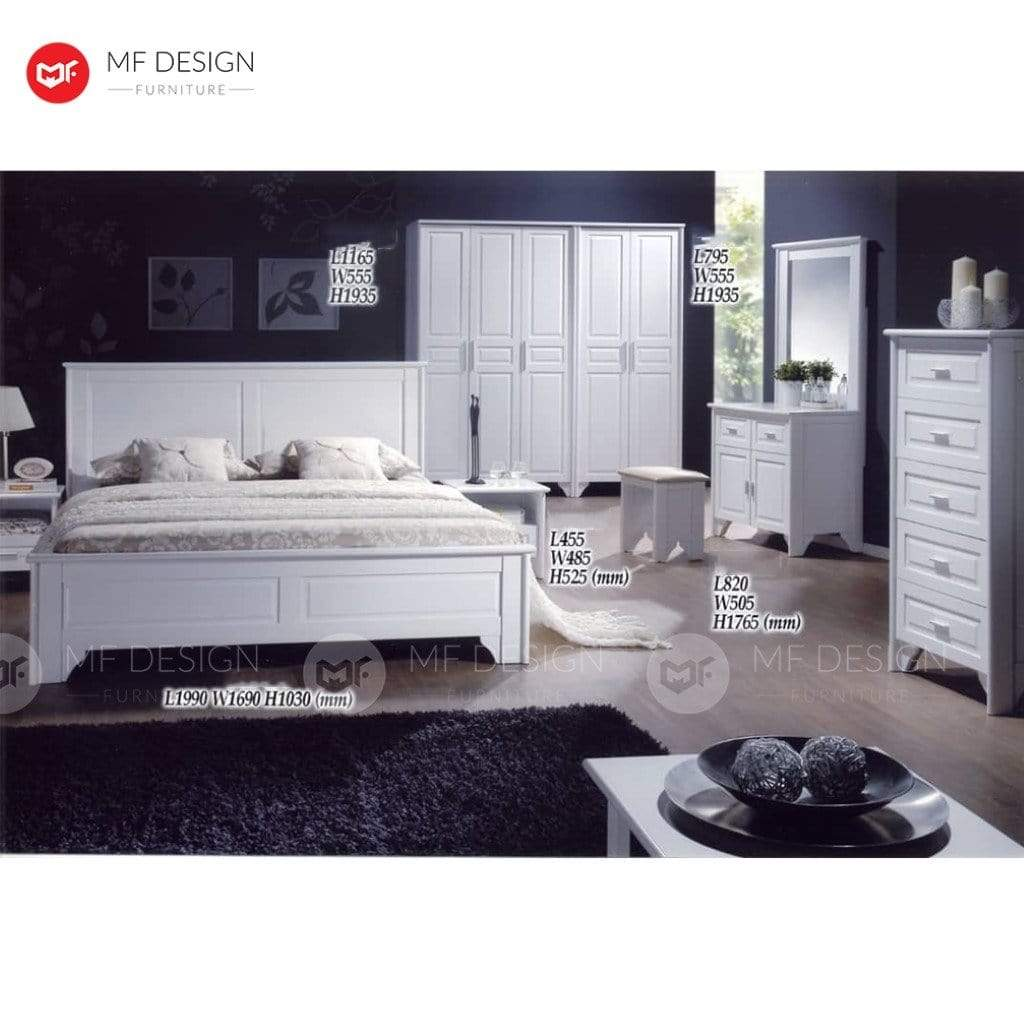 7 MF DESIGN ISABELLA QUEEN WOOD BED FRAME (WHITE SERIES)